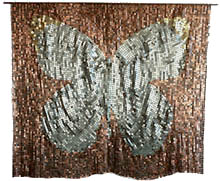 Butterfly mosaic tapestry made with American coins